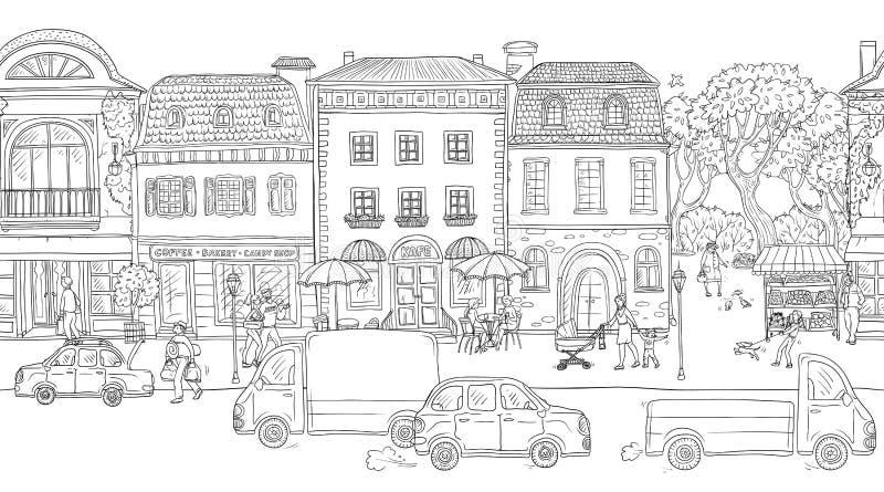 Nahtloser Musterhintergrund Auch im corel abgehobenen Betrag Städtische Straße in der historischen europäischen Stadt Leute-Gehen vektor abbildung