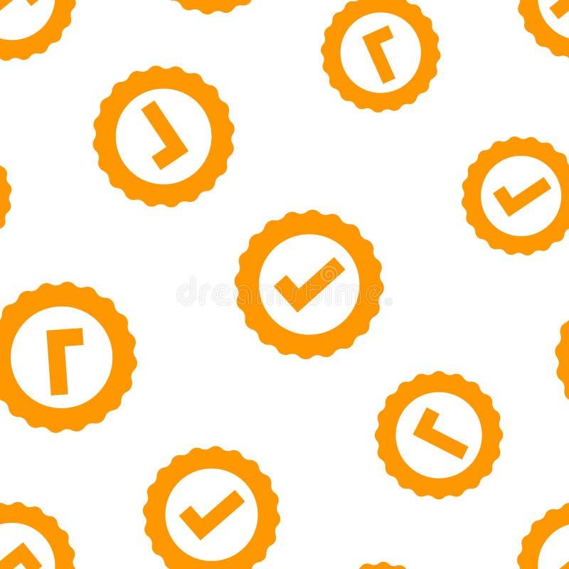 Nahtloser Musterhintergrund der anerkannten Zertifikatmedaillenikone Häkchenstempel-Vektorillustration Angenommen, Preisdichtungs lizenzfreie abbildung