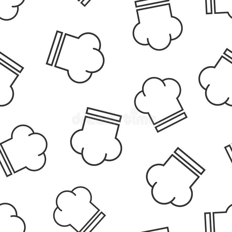 Nahtloser Musterhintergrund der Chefhutikone Kocherkappen-Vektorillustration Chefrestaurant-Symbolmuster lizenzfreie abbildung