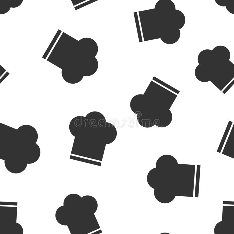 Nahtloser Musterhintergrund der Chefhutikone Kocherkappen-Vektorillustration Chefrestaurant-Symbolmuster vektor abbildung