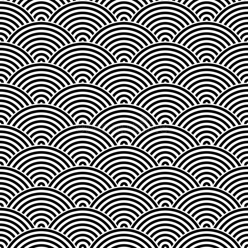 Nahtloser Musterhintergrund der Fischschuppe Abstraktes Auslegung-Element Schwarze Vektorillustration von gestreiften konzentrisc lizenzfreie abbildung