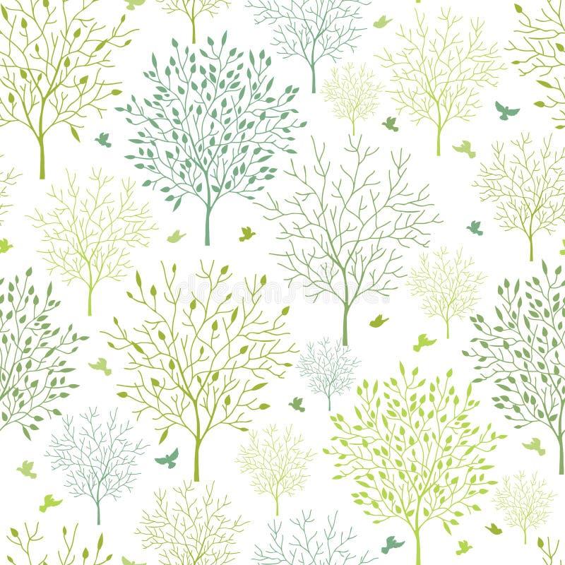 Nahtloser Musterhintergrund der Frühlingsbäume lizenzfreie abbildung