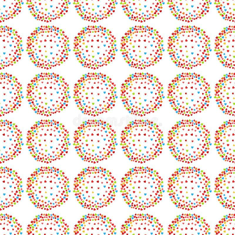 Nahtloser Musterhintergrund der Haloherzen vektor abbildung