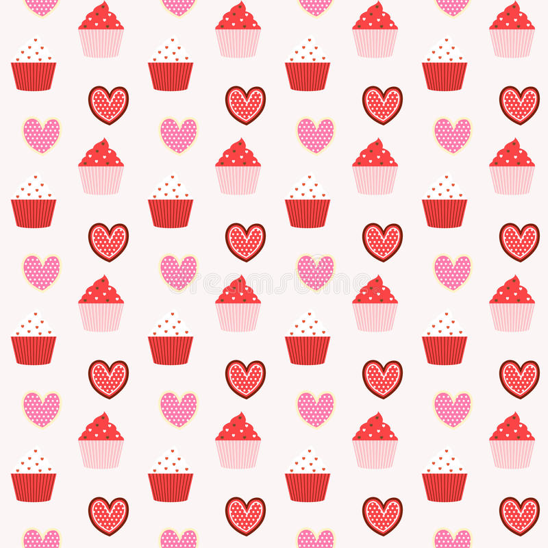 Nahtloser Musterhintergrund der kleinen Kuchen und der Plätzchen vektor abbildung