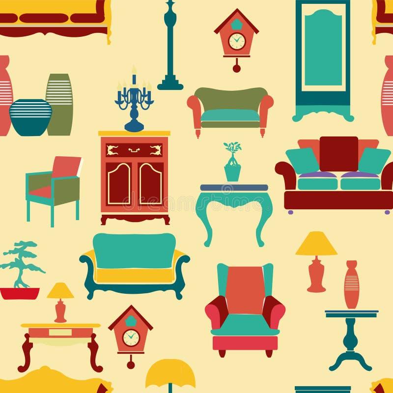 Nahtloser Musterhintergrund der lebenden Möbel - Illustration lizenzfreie abbildung