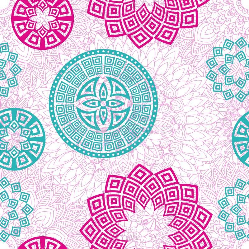 Nahtloser Musterhintergrund der Mandala lizenzfreie abbildung