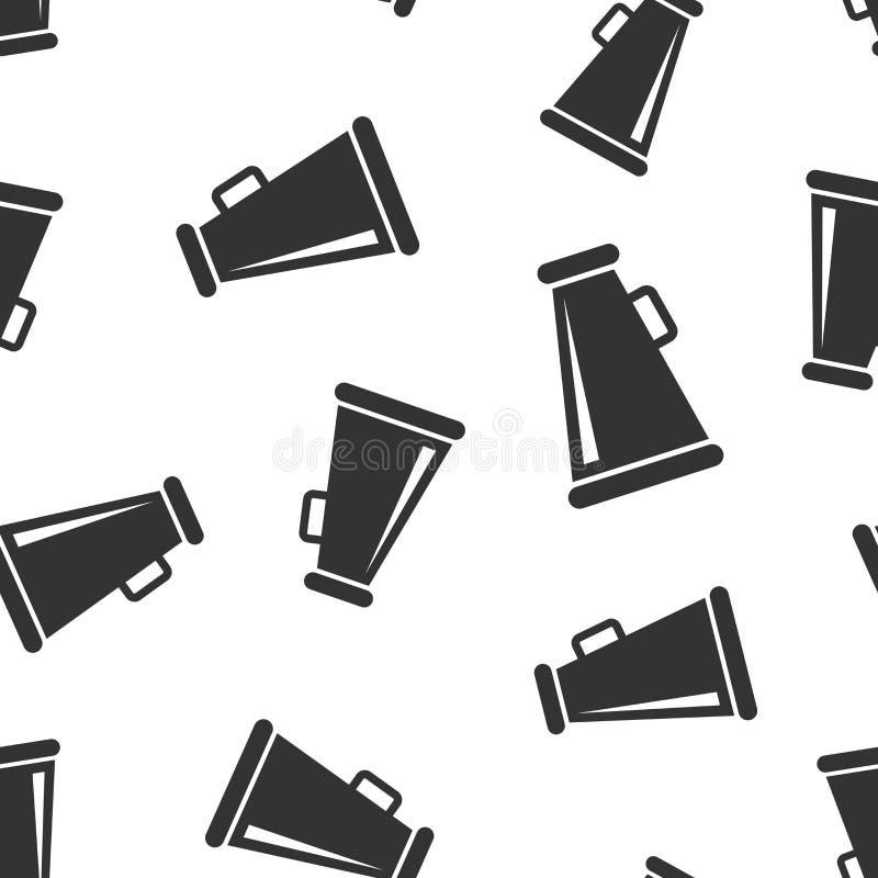 Nahtloser Musterhintergrund der Megaphonsprecherikone Megaphonaudiomitteilungs-Vektorillustration Rundfunksymbol des Megaphons lizenzfreie abbildung
