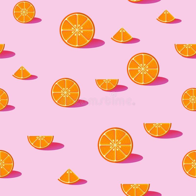 Nahtloser Musterhintergrund der orange Frucht lizenzfreie abbildung