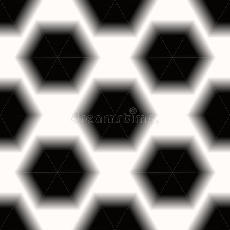 Nahtloser Musterhintergrund der Schwarzweiss-Hexagonbienenwabe ENV 10 vektor abbildung