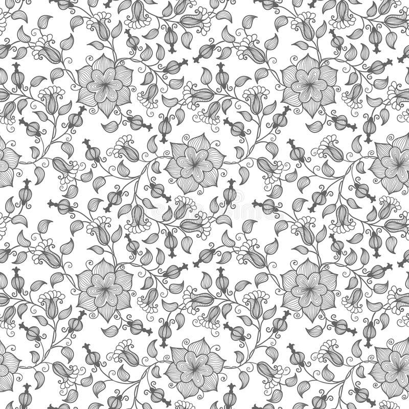 Nahtloser Musterhintergrund der Vektorblume Elegante Beschaffenheit für Hintergründe Klassisches altmodisches Luxusblumen vektor abbildung