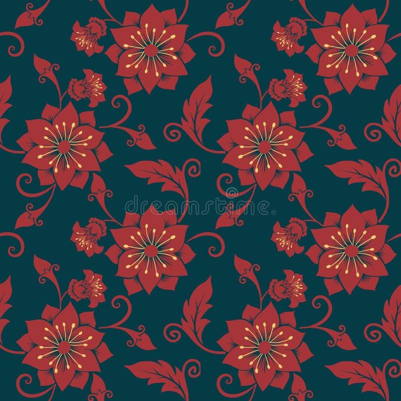 Nahtloser Musterhintergrund der Vektorblume Elegante Beschaffenheit für Hintergründe Klassisches altmodisches Luxusblumen stock abbildung
