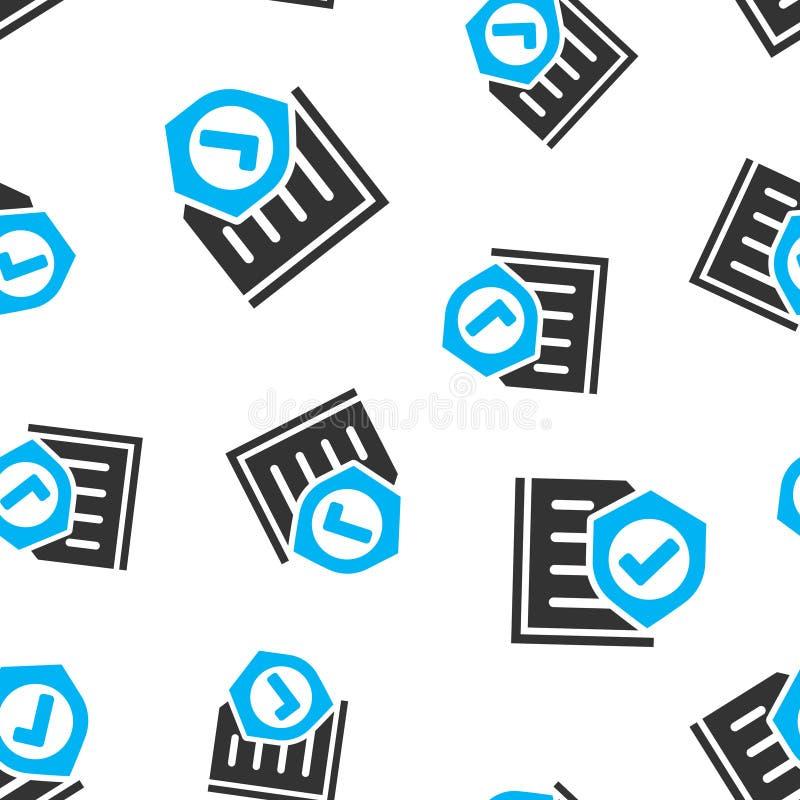 Nahtloser Musterhintergrund der Versicherungspolice-Ikone Berichtsvektorillustration auf wei?em lokalisiertem Hintergrund Dokumen lizenzfreie abbildung