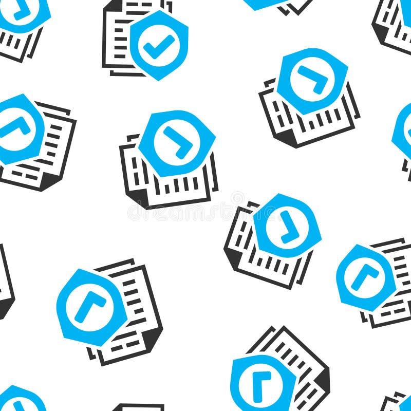 Nahtloser Musterhintergrund der Versicherungspolice-Ikone Berichtsvektorillustration auf wei?em lokalisiertem Hintergrund Dokumen stock abbildung