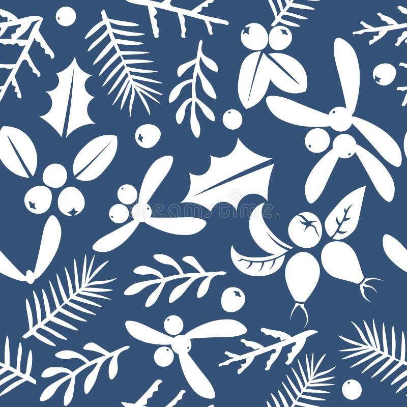 Nahtloser Musterhintergrund der Weinlese-frohen Weihnachten und des guten Rutsch ins Neue Jahr lizenzfreie abbildung