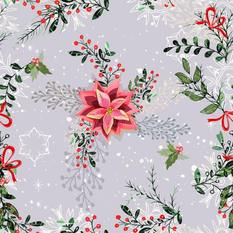 Nahtloser Musterhintergrund der Weinlese-Weihnachtselemente stock abbildung