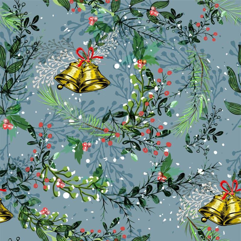 Nahtloser Musterhintergrund der Weinlese-Weihnachtselemente lizenzfreie abbildung