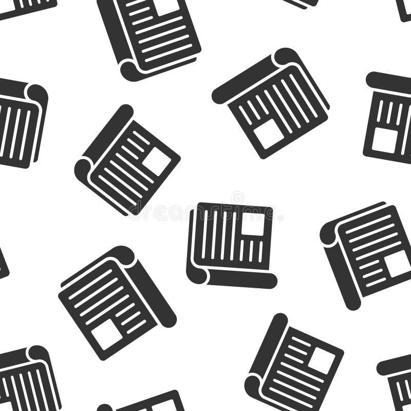 Nahtloser Musterhintergrund der Zeitschriftenseiten-Ikone Nachrichtenvektorillustration auf wei?em lokalisiertem Hintergrund Bros lizenzfreie abbildung