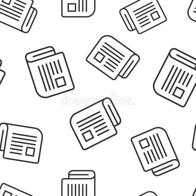 Nahtloser Musterhintergrund der Zeitschriftenseiten-Ikone Nachrichtenvektorillustration auf wei?em lokalisiertem Hintergrund Bros vektor abbildung