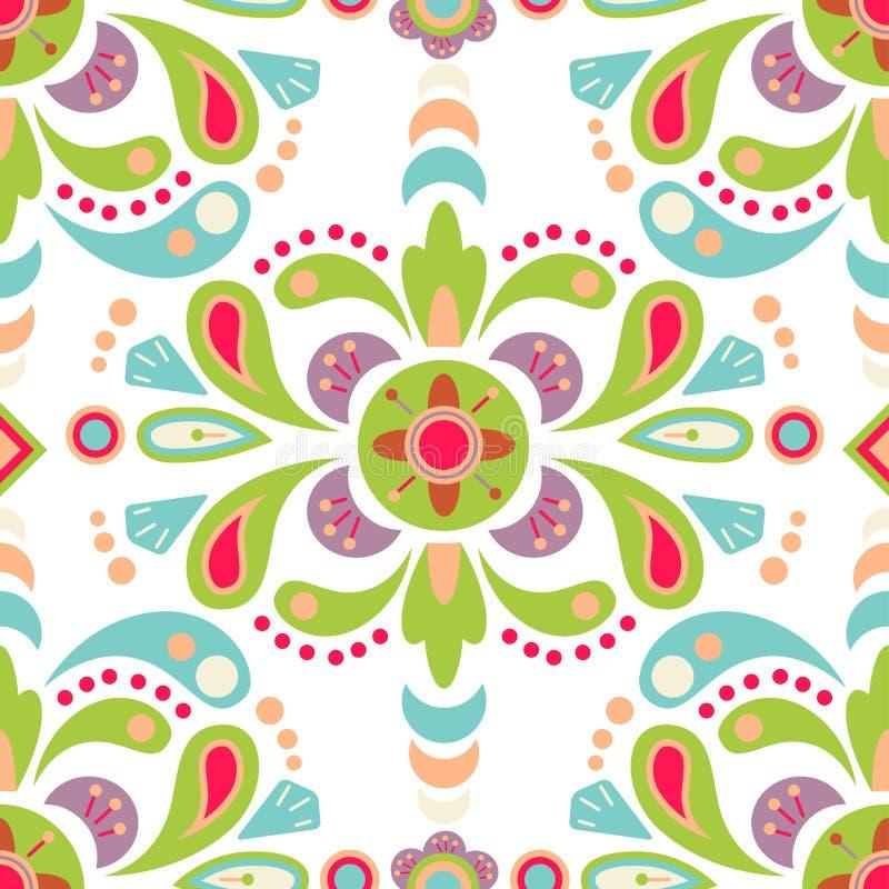 Nahtloser Musterhintergrund des Blumendamastes vektor abbildung