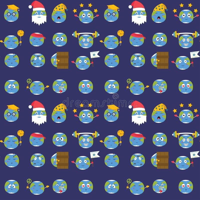 Nahtloser Musterhintergrund des Karikaturvektorkugelgefühlplanetennatur-Charakterausdruck-Illustrationsavataras stock abbildung