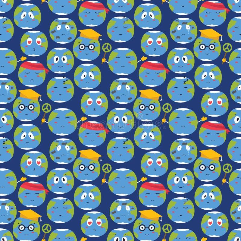 Nahtloser Musterhintergrund des Karikaturvektorkugelgefühlplanetennatur-Charakterausdruck-Illustrationsavataras vektor abbildung