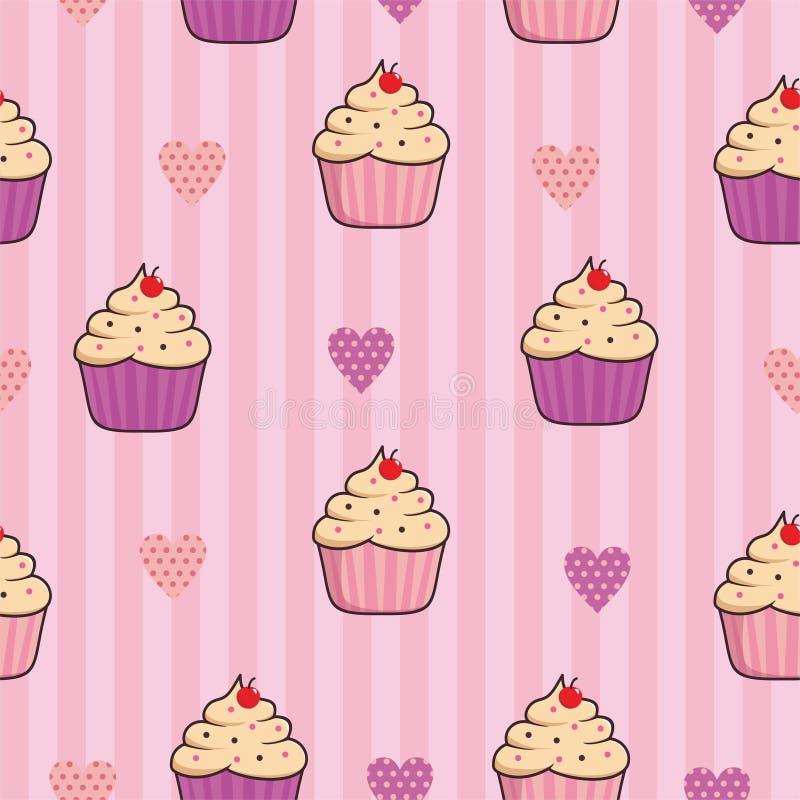 Nahtloser Musterhintergrund des kleinen Kuchens mit rosa Farbe vektor abbildung
