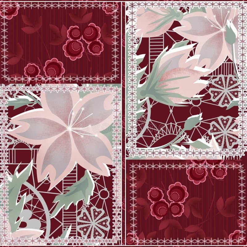 Nahtloser Musterhintergrund des Patchworks mit dekorativen Elementen vektor abbildung