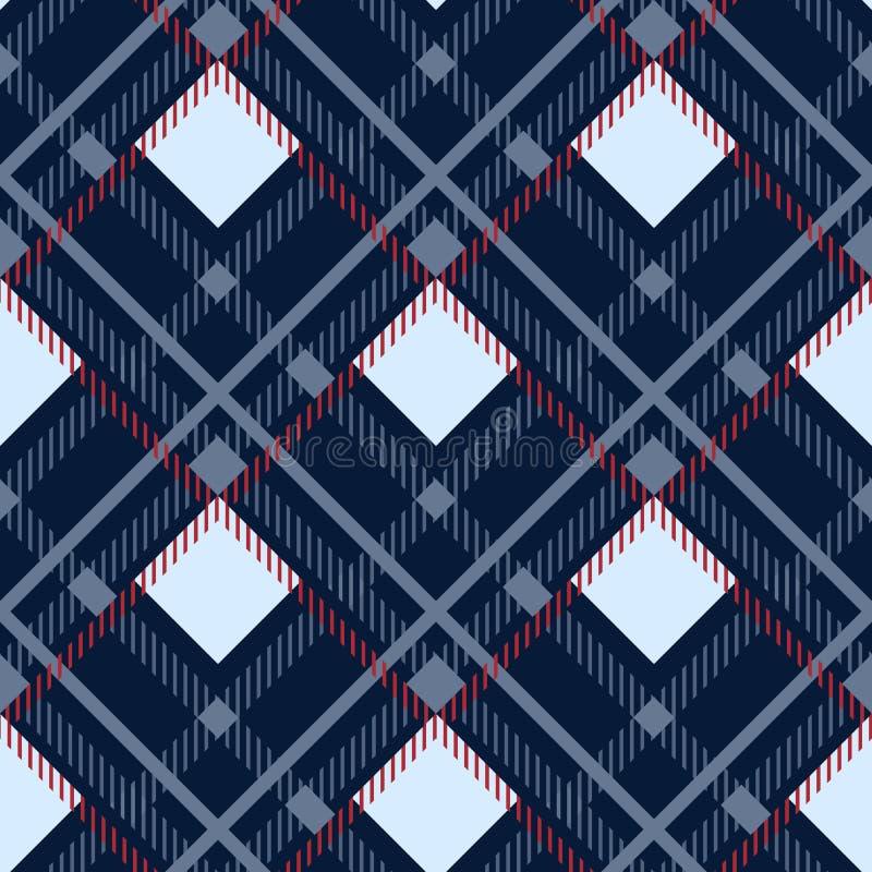 Nahtloser Musterhintergrund des Schottenstoffs Rotes, schwarzes, blaues, beige und weißes Plaid, Schottenstoff-Flanell-Hemd-Muste vektor abbildung