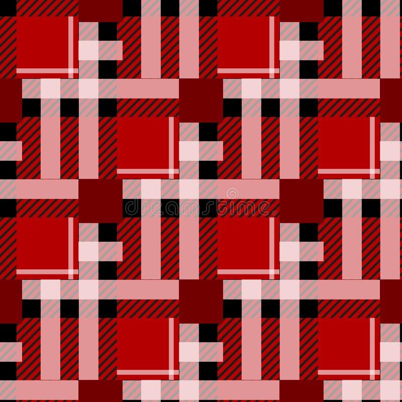 Nahtloser Musterhintergrund des Schottenstoffs Rotes, Schwarzweiss-Plaid, Schottenstoff-Flanell-Hemd-Muster Modische Fliesen-Vekt lizenzfreie abbildung