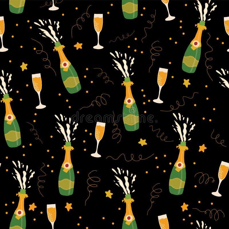 Nahtloser Musterhintergrund des Sektflasche- und Glasvektors Übergeben Sie gezogene Champagnerexplosion und -Sektkelche auf Schwa vektor abbildung