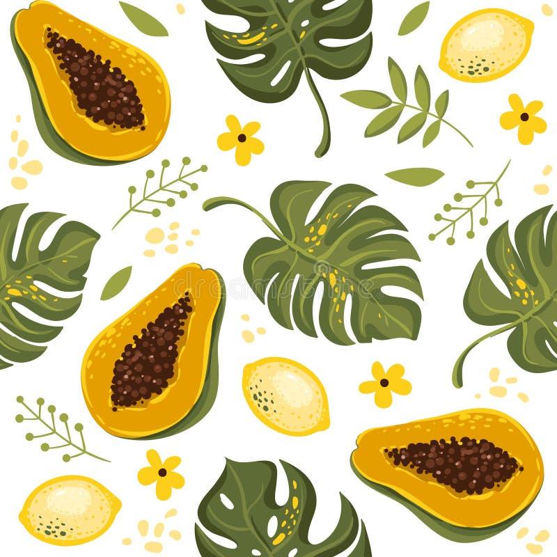 Nahtloser Musterhintergrund des Sommers mit exotischen Früchten, tropische Blätter, Avocado, Erdbeere Vektor illuastration ENV 10 stock abbildung