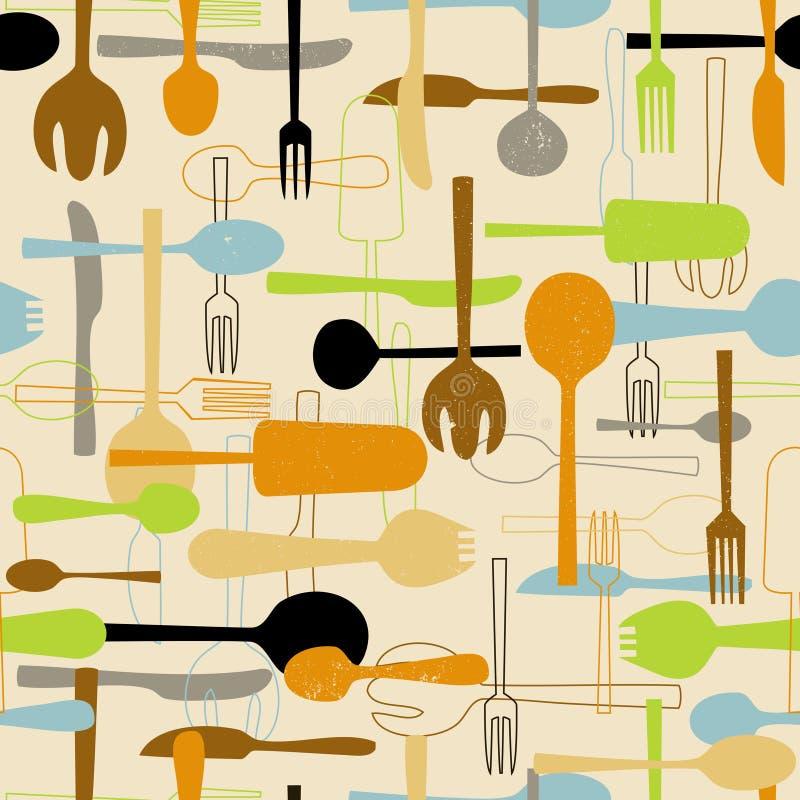Nahtloser Musterhintergrund des Tischbestecks.  lizenzfreie abbildung