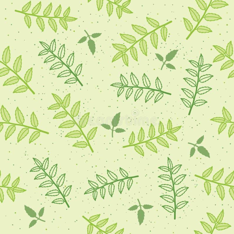 Nahtloser Musterhintergrund des Vektors mit Blättern lizenzfreie abbildung