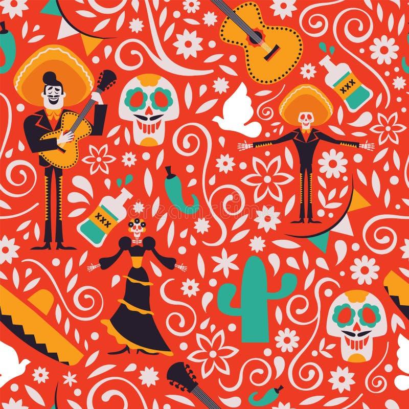 Nahtloser Musterhintergrund Mexiko-Kultur vektor abbildung