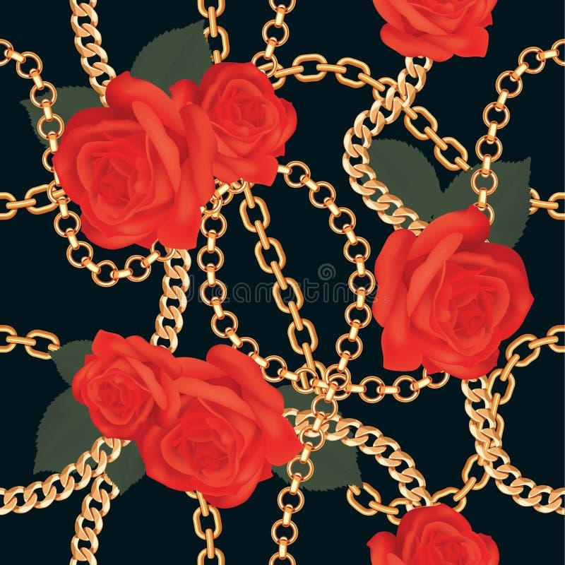 Nahtloser Musterhintergrund mit goldenen Ketten und roten Rosen auf Schwarzem Auch im corel abgehobenen Betrag stock abbildung