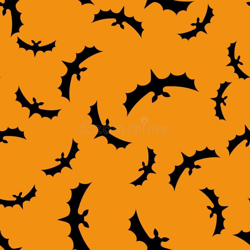 Nahtloser Musterhintergrund mit Schlägern Schwarzes auf orange Beschaffenheit lizenzfreie abbildung