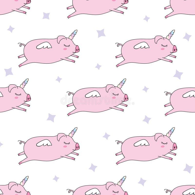 Nahtloser Musterhintergrund Nettes Schwein als Pegasus und Einhorn stock abbildung