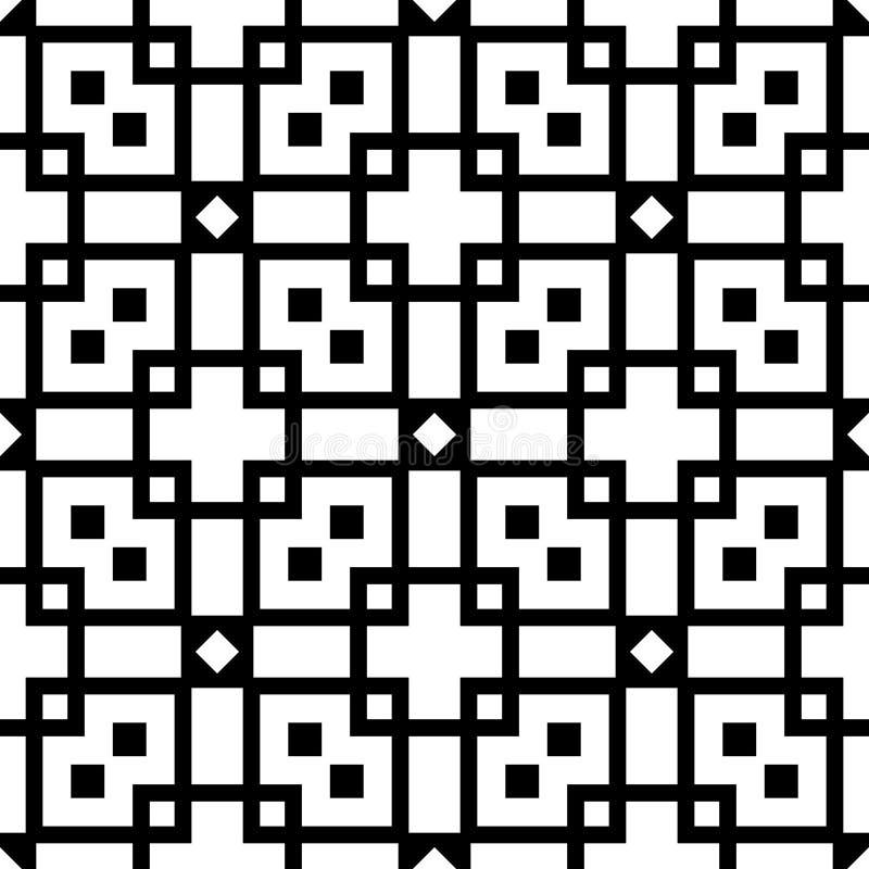 Nahtloser Musterhintergrund in Schwarzweiss Weinlese und Retro- abstraktes dekoratives Design Einfache Ebene lizenzfreie stockfotografie