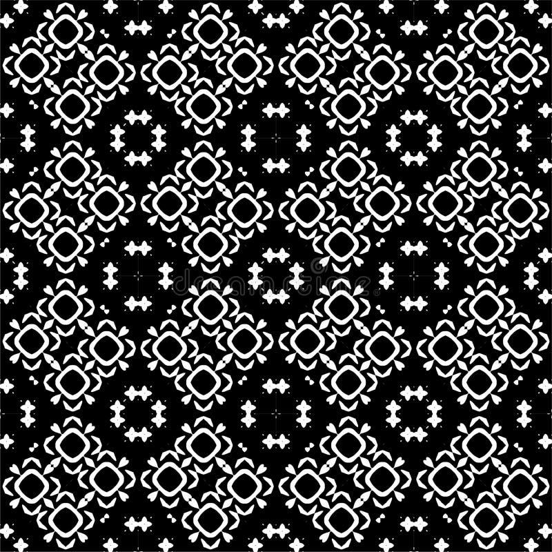 Nahtloser Musterhintergrund in Schwarzweiss Weinlese und Retro- abstraktes dekoratives Design Einfache Ebene stockbilder