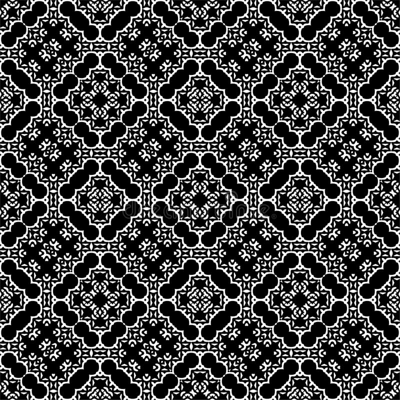 Nahtloser Musterhintergrund in Schwarzweiss Weinlese und Retro- abstraktes dekoratives Design Einfache Ebene lizenzfreies stockfoto