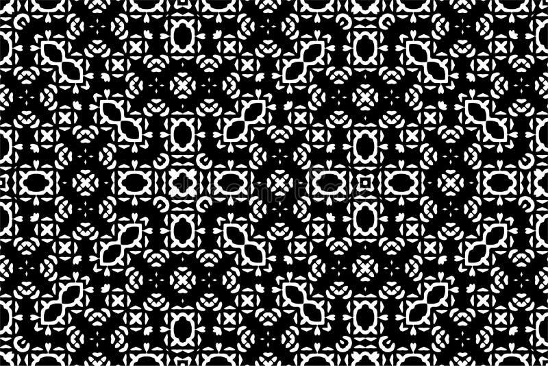 Nahtloser Musterhintergrund in Schwarzweiss Weinlese und Retro- abstraktes dekoratives Design Einfache Ebene stockfoto