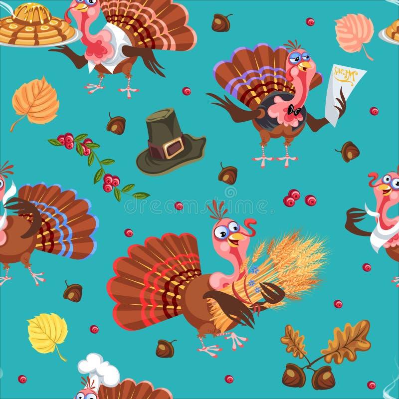 Nahtloser Musterkarikaturdanksagungs-Truthahncharakter im Hut mit Ernte, Blätter, Eicheln, Mais, Herbstferienvogel stock abbildung