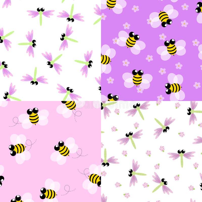 Nahtloser Mustersatz der Biene und der Libelle lizenzfreie abbildung