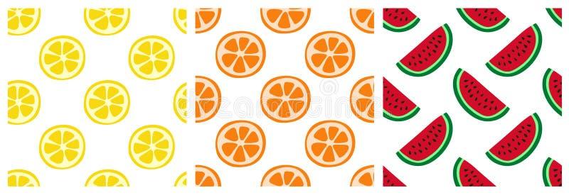 Nahtloser Mustersatz der tropischen Frucht Orange, Zitrone und Wassermelone Modedesign Nahrungsmitteldruck für Kleidung, Leinen o stock abbildung