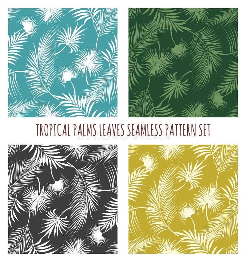 Nahtloser Mustersatz der tropischen Palmenblätter lizenzfreie abbildung