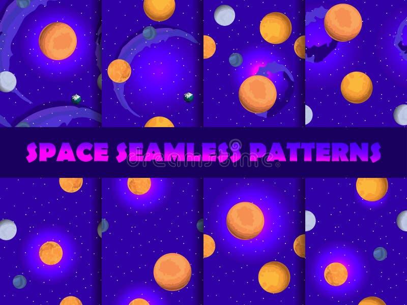 Nahtloser Mustersatz des Raumes Hintergrund mit Planeten und Sternen, Nebelfleck Vektor stock abbildung