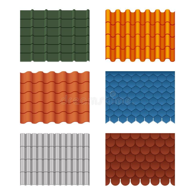 Nahtloser Mustersatz des Vektors Dachplatten Bilder lokalisieren auf Weiß lizenzfreie abbildung