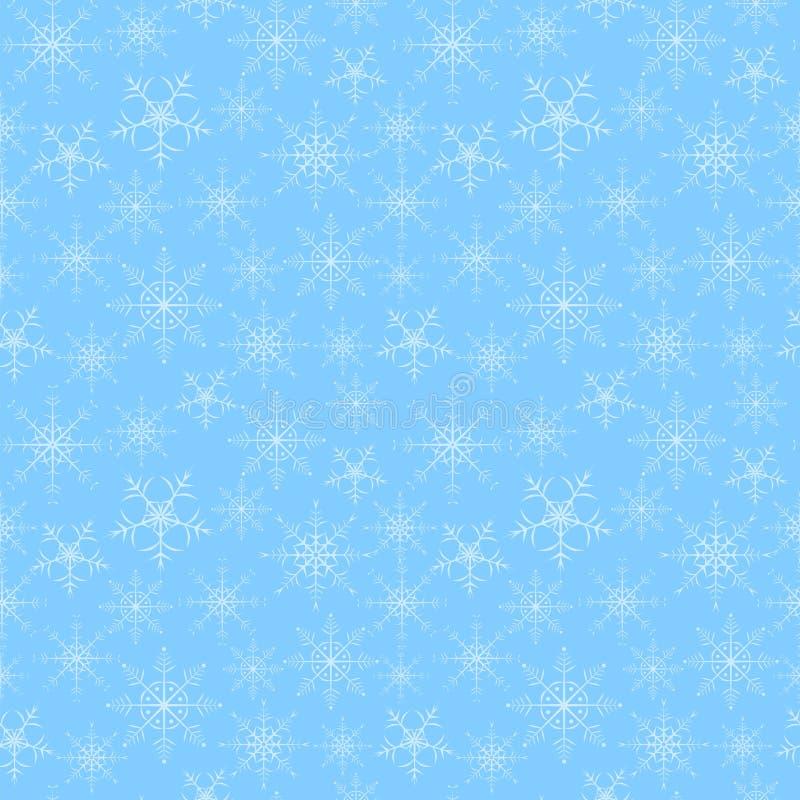 Nahtloser Mustersubstrathintergrund von Schneeflocken auf einem blauen Hintergrund stockbilder
