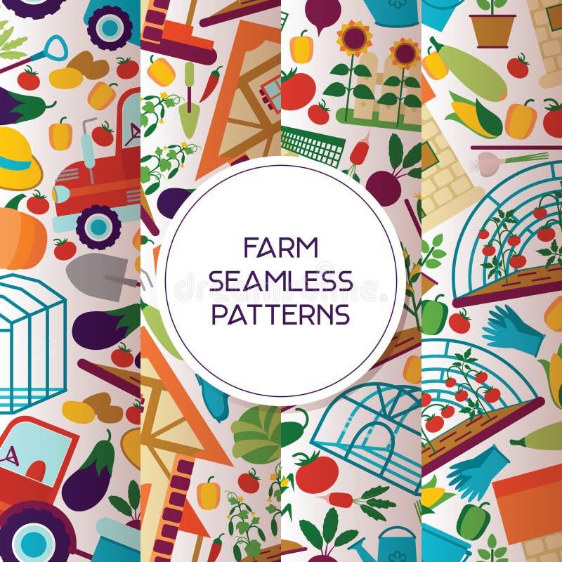 Nahtloser Mustervektor des Bauernhofes, der hintergrundlandwirtmanngärtnerfrauencharakter und -bauernhöfe des Hauses den Gartenar lizenzfreie abbildung