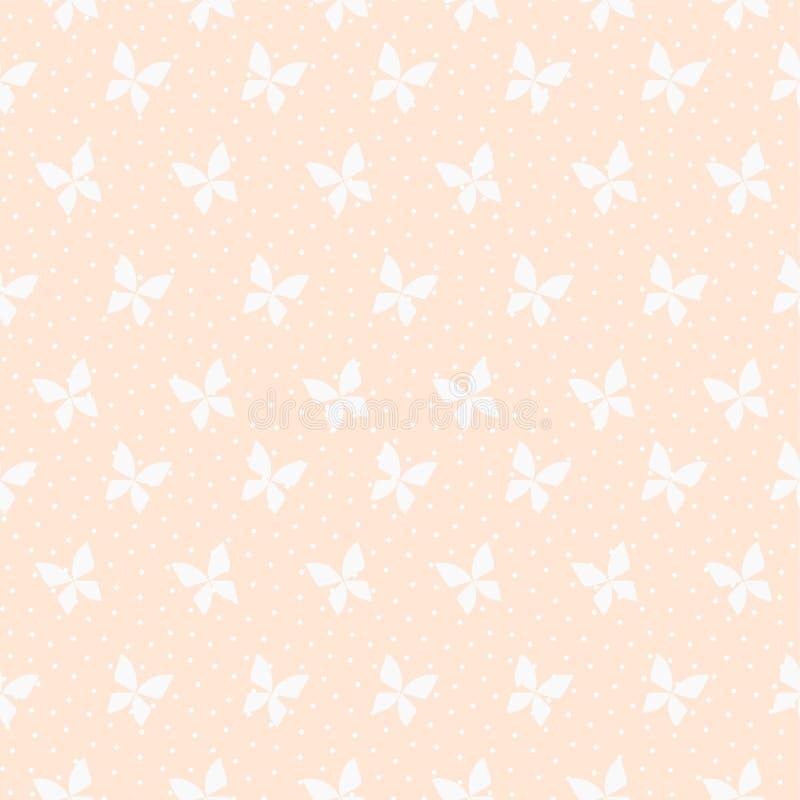 Nahtloser Mustervektor des kleinen Schmetterlinges auf Pastellrosahintergrund lizenzfreie abbildung